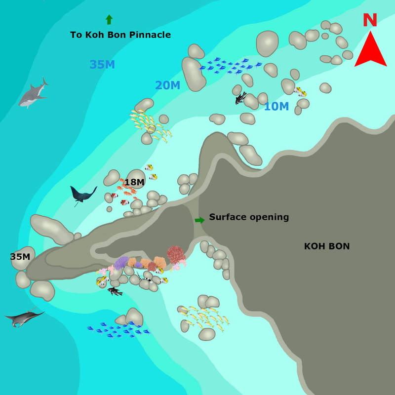 Koh Bon Pinnacle scuba diving map